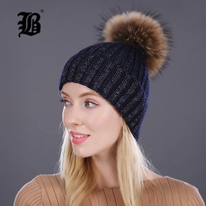 Kadınlar Cap için [fLB] Kış Şapka Lady kasketleri Cap Kız Kürk Pom Poms Ve Yün Örgü Rhinestone Şapka Yeni gorros Kalın Kadın Şapka