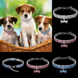 3 Rows Rhinestone Elastic Force Dog Collars Crystal Collar Leash Pet Supplies Dogs Chain Jewelry Tag Multicolour 9 9cz D2