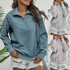 C WOMEN'S Hoodie Autumn and Winter Female Casual Loose Stand Collar Long Sleeve Pull