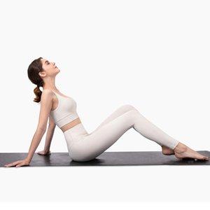 GYMFEVER Professional Yoga Set Nu-Feels escovado tecido de Fitness Sports Outfit Yoga Leggings Set Mulheres Branco Marfim Yoga Clothes Y200904