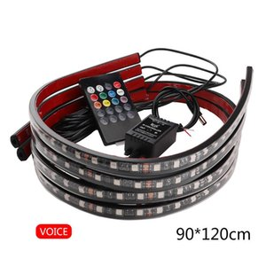 4Pcs Car Underglow Flexible Strip LED Remote Control RGB Decorative Atmosphere Lamp Underglow Underbody Neon Light