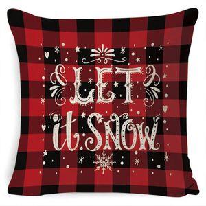 Christmas Pillow Case Plaid Linen Throw Pillow Covers Square Sofa Decorative Pillow Headrest Cushion Cover Xmas Pillowslip Decor OWB2160