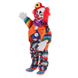 9inch Porcelaine Sourire Clown Doll, Porter Tenues coloré drôle Harlequin Doll, Props cirque, Décor Halloween