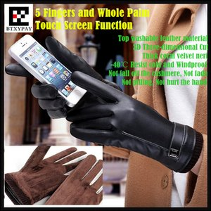 Men&Women Couple Winter Windproof Resist Cold Cashmere Top Washable Leather PU Gloves,5 Fingers&Whole Palm Touch Screen Gloves