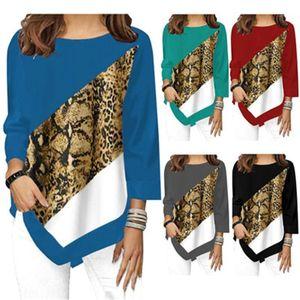 Suéter manga diseñador del resorte nueva hembra floja Tees leopardo cuello redondo mujeres Camiseta tendencia de la moda larga del cacual
