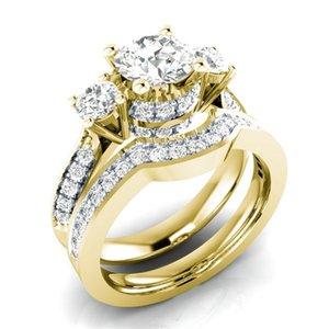 Fashion 14K Gold Peridot Diamond Ring Set Topaz Jewelry for Women Anillos De Bizuteria Gemstone Punk Diamante Jewelry Rings 2019