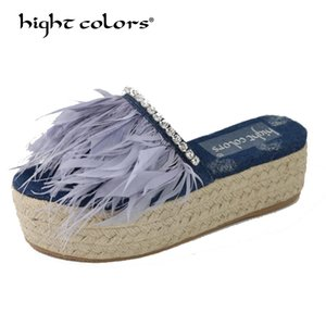 Thick bottom Slippers Female Summer 2020 New Crystal Blue denim Jean feather slippers Straw bottom Mules Platform Shoes Woman