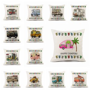 Happy Campers pillow case Cartoon Campers Caravan Dining Car christmas linen pillow cases cushion cover for home hotel 45*45cm FFA4455