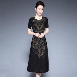 p4w24 элегантную Put PUT MOM Женская Socialite женщин 2020 простой и элегантный платье лета горячий алмаз среднего возраста мама