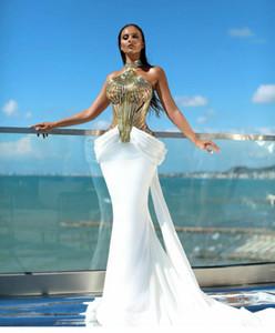 Akşam elbise Yousef aljasmi Kendall Jenner Kadınlar elbise Kim Kardashian Mermaid Yüksek Boyun Kapalı omuz Altın Tüy Aplikler Denizkızı