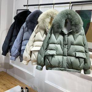 2020 Новая женская зима белая утка пуховик женщина короткая корейская пух пальто толщиной теплые женщины реальный меховой воротник вниз куртки