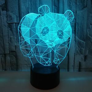 Красочный сенсорный 3D светодиодных огней Crack 3d светодиодных настольных ламп стереозрение огни Panda 3D Night Light