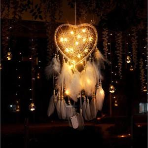 Creative Hollow Love Dream Catchers Flashing Two Rings Dream Catcher Lantern Ornaments Nordic Wedding Christmas Decoration LXL954-1