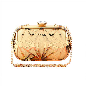 2019 Summer Women Fashion Women New Metal Hollow Out Evening Bag Rhinestone Clutch Shoulder Cross Bags