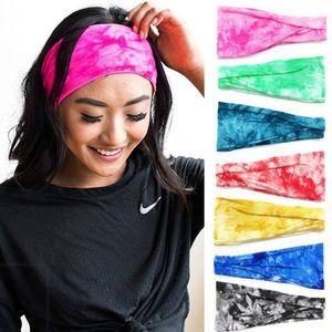Йога Hairband Tie-краситель цвета хлопок стяжки Эластичных Sweatband Женщина Девушка Bands Спорт Волосы Мода головные уборы Тюрбан головной убор WY582