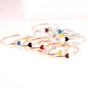2020 de oro rosa corazón del esmalte Manguito pulseras brazaletes para muchachas de las mujeres Conjunto de acero inoxidable ajustable femenina pulsera brazalete