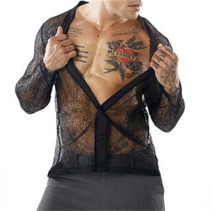 V шеи с длинными рукавами футболки моды мужские Tees сетки перспективы Mens конструктора Tshirts Sexy Сыпучие Кардиган Сыпучие