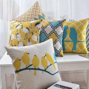 Nordic Style Cushion Cover Yellow Blue Throw Pillow Cover Decorative Pillows Cases Geometric Pillowcase Linen Cushion For Sofa