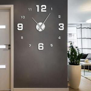 Número grande Frameless Diy Relógio de parede Mute Espelho Stickers Modern gigante relógio de parede não Ticking para sala de estar Quarto Cozinha bbySSu