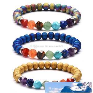 Высокое качество Женщины Мужчины ювелирные изделия 7 Чакра Йога Браслет Природный камень Cut Поверхностные Энергия Кристалл Браслеты Агатовые Пары браслет