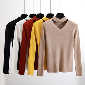 New Sexy Halter Sweater Autumn Winter Sweater Pullovers Women Slim V neck Long Sleeve Girl Top High Quality Sweater Female