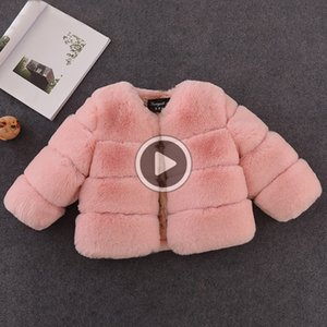 Brasão Baby Girl elegante New Meninas Inverno Fur Faux Fur jaquetas e casacos grossos Quente Parka crianças Casacos Roupa para meninas Brasão