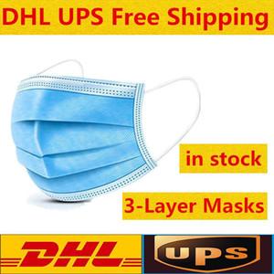 UPS DHL frei Schwarze rosa weiße Einweg-Gesichtsmasken Thick 3-Schicht-Masken mit Earloops für Salon, Home Use Komfortable Mask