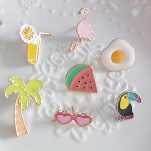 10 PCS акриловые Жетоны Flamingo Плодовые Брошь Значки на рюкзаке Harajuku Значки для одежды Kawaii Знак Значок на булавке Брошь