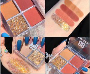 Wholesale make-up Pumpkin Carriage 4 color eyeshadow tray ultra flame-unicorn glitter pearlite waterproof glitter