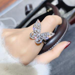 Блестящая сторона новой марки ювелирных изделий обручальных колец для женщин Подарочные Хрустальные бабочки Обручальные кольца