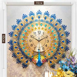 Amais Gold3d Diamant-Pfau-Wanduhr Metal Uhr Silent-Digital-Taktgeber für Haupt Wohnzimmer-Wand-Dekoration Uhren Ornamente