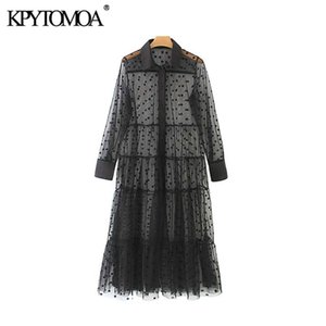 KPYTOMOA Women Sexy Fashion Polka Dot Mesh Midi Dress Vintage Long Sleeve See Through Female Dresses Vestidos Mujer0921