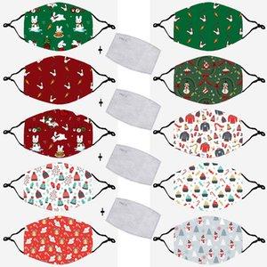 Mascarilla de la Navidad para los niños de algodón conejito Impresión de patrón de máscara de la máscara a prueba de polvo respirable lavable de la historieta con PM 2.5 Filtro DHF1514