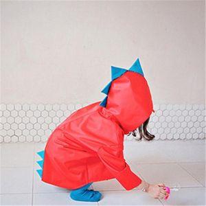 Cartoon Dinosaur Design Kids Raincoat Wind Proof Waterproof Hooded Raincoat Universal for Boys Girls Rain Suit