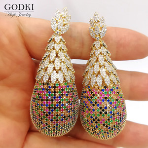 GODKI Luxury Pineapple Drop Earrings For Women Wedding Cubic Zirconia Dubai Bridal Earrings Costume Jewelry Summer Party 200923