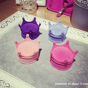 Chic Luxury Velvet Princess Crown Shape Stand For Earrings Ring Pendant Jewelry Case Organizer Gift Box Random Color