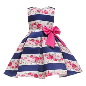 2-10 Years Girl Dress Bow stripe tutu Princess Dress Children Birthday party prom Costume Kids Dresses For Girls clothes