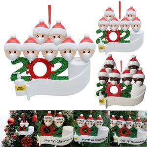 Venda quente 2020 do partido Aniversários Natal Quarentena presente Decoração Família de produtos personalizada de 4 ornamento Pandemic social Distanciamento