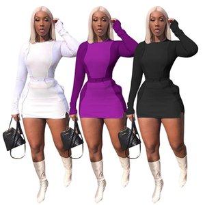 النساءيه وصول المرأة الجديدة اثنين من فساتين قطع الأزياء كم طويل لون الصلبة الخريف فاخر اللباس ألوان حك فساتين الحجم S-XL 838