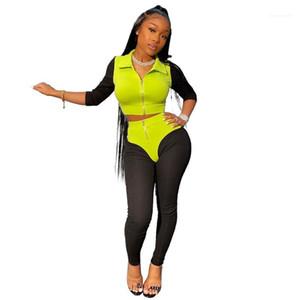 Sportanzüge reizvolle dünne Halbarm Damen-Kleidung Spring Frauen Vertrag Farbe Tracksuits Revers Ausschnitt Patchwork Weiblich