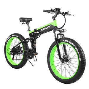 ZPAO 26 Inch 4.0 Fat pneu da bicicleta elétrica 48V 1000W Folding bicicleta elétrica Display LCD com USB plug Bateria removível Ebike