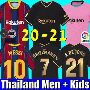 FC BARCELONA futbol forması 20 21 camiseta de futbol ANSU FATI 2020 2021 Messi GRIEZMANN DE JONG Futbol gömlek gömlek Erkekler + Çocuk kiti