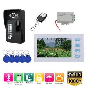 7 pouces enregistrement Wired vidéophone Sonnette Interphone avec empreintes digitales RFID AHD 1080P caméra porte de contrôle d'accès