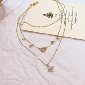 European and American Fashion Multi-layer Zircon Awn Star Necklace Clavicle Chain Explosion Style Trend Love Three-layer Necklace Female