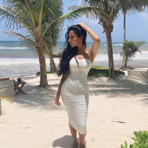 2020 Sommerkleid reizvolle feste rückenfreies Kleid trägerlos Ärmel gerade mit Freizeit Sommer party party faltet Paket Gesäß