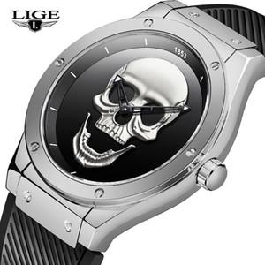 2019 Новый Lige Мужские часы Top Brand Luxury черепа моды спортивные часы Мужчины 30M Водонепроницаемый Кварцевые часы Relogio + Box Мужчина для