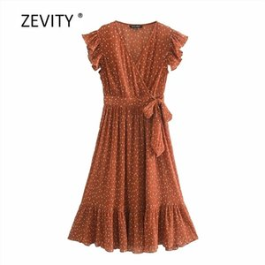 Zevity Women elegant cross v neck dots print pleats A line dress female butterfly sleeve chiffon vestido Chic bow Dresses DS40810924