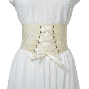 New wide waistband ladies fashion lace up decorative women Lace Elastic Corset belt fajas fajas reductoras de barriga VKAC1015