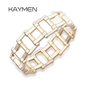 Hot Selling Unisex Punk Style Geometric Golden Bangle Chains Charm Chunky Statement Bangle Party Jewelry BR-03278
