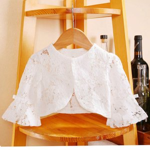 Lovely Summer Outerwear Thin Cotton Girl's 3 4 sleeve Girl Princess Lace Cut Out shawl hooded sunscreen suit